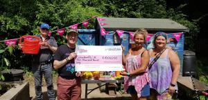 RainbowBiz CIC yn dathlu derbyn £10,000